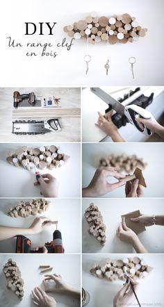 création diy pas à pas réalisation range clef mural en bois