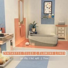 ZENTASTIC TILES & FLOWING LINES – by amoebae A (re)recolour of the Zentastic wall tiles and Flowing Lines floor tiles from Spa Day. Floor tiles come in 55 colours; Wall tiles come in 7 versions (each in 55 colours to match): solid walls, and then 6...