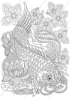 Carp Koi Fish Coloring Page. Adult coloring by ColoringPageExpress