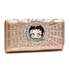 Product Features Boop Boop a Doop! How adorable is this rhinestone adorned checkbook wallet? Betty Boop is always the center of attention, and so will you with this sassy and classic accessory. Pair i
