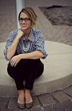 gingham and leopard flats preppy style teacher style office style