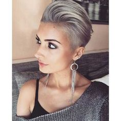 20 Long Pixie Haircuts You Should See: Modern Grey Colored Pixie; Edgy Pixie Hairstyles, Bob Hairstyles For Fine Hair, Short Pixie Haircuts, Gray Hairstyles, Hairstyles 2018, Latest Hairstyles, Long Pixie Cuts, Short Hair Cuts, Short Hair Styles