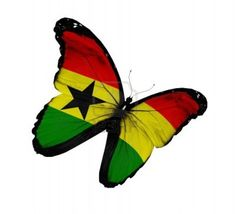 Ghana flag butterfly flying