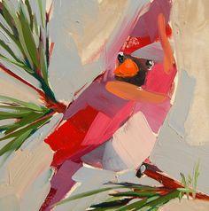 Cardinal no. 138 original bird oil painting by by prattcreekart