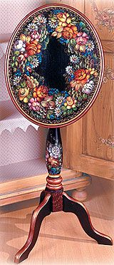 Zhostovo Wine Tilt-Table by Jo Sonja Jansen. Re-released by popular demand.Pattern packet available for $8.95