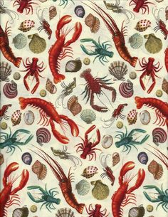 Lobsters Cray Fish Shrimp Shells on Tan Quilt Fabric Elizabeth's Studio 4911 | eBay