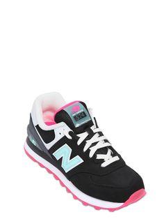 a9e6d60f2bf New balance 574 Faux Nubuck Sneakers in Black (BLACK FUCHSIA)