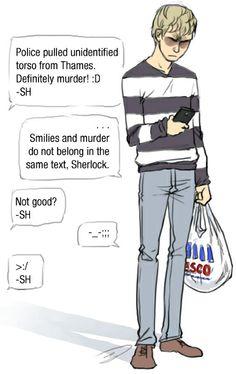 Sherlock and Watson texting. :D murder lol