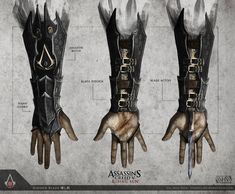Assassin's Creed 5: Rising Sun - Hidden Blade by TheEnderling Armor Concept, Weapon Concept Art, Assasins Cred, Modern Assassin, Assassin's Creed Hidden Blade, Armour Tattoo, Blade Tattoo, Tattoo Ink, Assassins Creed Unity