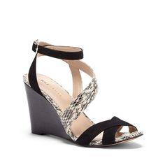 Women's Black Cream Leather 3 1/4 Inch Strappy Wedge Sandal | Viktoria by Sole Society