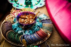 Naureen & Ghazaly's Super Colorful Mayoon & Mehndi Ceremonies- Part II. Gift Ideas For Wedding Guests In Indian Mehndi Ceremony, Wedding Mehndi, Desi Wedding, Wedding Stage, Table Wedding, Bengali Wedding, Wedding Plates, Wedding Mandap, Wedding Receptions