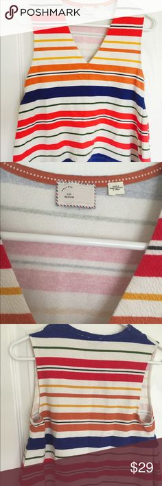 💞Anthropologie💞 Summer Tank 💞Anthropologie💞 Summer Tank / V- Neck, White Top with Colorful Bold Stripes / so crisp and great for summer! Really cute with skinny jeans! / Size Medium Anthropologie Tops Tank Tops