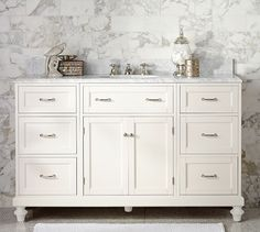 Custom Classic Single Wide Sink Console with Doors Storage - Carrara Marble | Pottery Barn