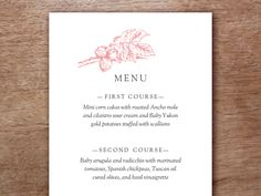 Printable wedding menu template, easy to print at home. Just drop your text into the PDF download print and cut.