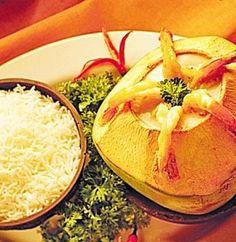 daab chingri - prawns cooked inside green coconut