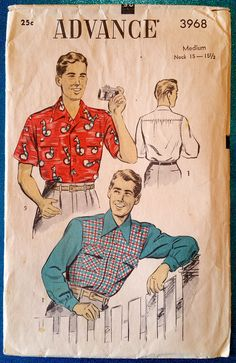 Vintage 1940's 1950's men's long or short sleeved by kwirkykiwi