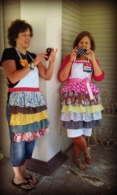 Sew ruffles to pre-made white apron