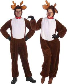 Plush Unisex Reindeer Costume - Join in with Santa's reindeers as one of your very own. Play all the reindeer games with this fun costume this holiday season! This soft plush jumpsuit comes with a hood with attached collar, antlers and ears. Perfect for playing around at Halloween, Christmas or singing Rudolph the Red Nose Reindeer! #YYC #Calgary #Christmas #Costume #Reindeer
