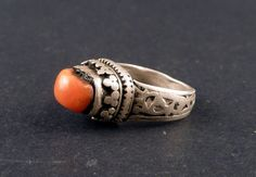 Tibetan silver ring with a tibetan red coral by ethnicadornment