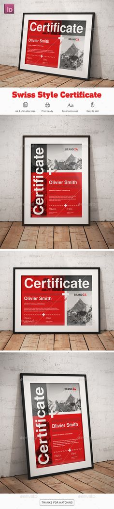Swiss Style #Certificate - Certificates Stationery Download here:  https://graphicriver.net/item/swiss-style-certificate/20229550?ref=alena994