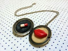 so much fun jewelry -- Pill Poping Red Lips nacklace HANDMADE by @shaatnez on Etsy