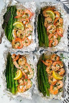 Shrimp and asparagus foil packs with garlic - lemon butter sauce Recipe . - Shrimp and asparagus foil packs with garlic – lemon butter sauce Recipes Note – # - Shrimp And Asparagus, Asparagus Recipe, Asparagus Meals, Recipes With Asparagus, Grilled Asparagus, Sauteed Shrimp, Asparagus Stuffed Chicken, Zucchini Pasta Recipes, Pesto Salmon