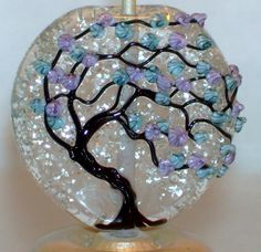 WSTGA~GLORIOUS SHIMMERING RAIN~TREE FLORA handmade lampwork focal glass bead SRA #WindSweptTreeGlassArt #Lampwork By Molly Cooley