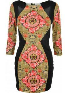Black Decorative Print Bodycon Dress with Mesh Insets,  #Black #Bodycon #Decorativeprint #Chic #ustrendy