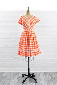 Vintage 1950s Orange & White Buffalo Plaid by NosillaVintage