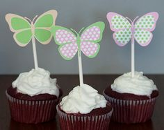 Butterfly Cupcake Toppers   Pink Green & Peach by TangerinePaperShoppe, $11.00 Butterfly Birthday Party, Butterfly Baby Shower, Girl Birthday Party