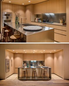 This modern kitchen features American oak cabinets with satin-finish stainless steel countertops and backsplashes. Dornbracht faucets have been used for the sink, and for the floor, mottled quartz has been used in the kitchen, while oil finished oak flooring has been used in the rest of the apartment.