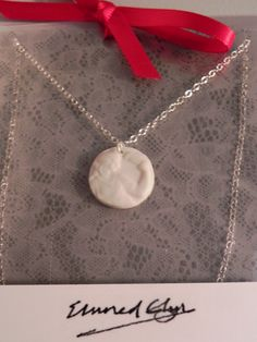 Hand-Made Sterling Silver and Porcelain Small Cameo Necklace  www.facebook.com/SeramegElunedGlynCeramics www.elunedglyn.com