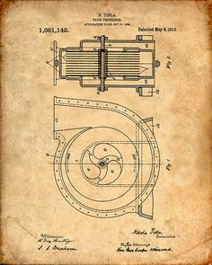 This is a Patent Print for a Tesla Fluid Propulsion. It was invented by Nikola Tesla and it was issued on May 1913 by the United States Patent and Trademark Office. Tesla Turbine, Nikola Tesla Patents, Tesla Generator, Nicola Tesla, Tesla Coil, Patent Drawing, Patent Prints, Grafik Design, Vintage World Maps