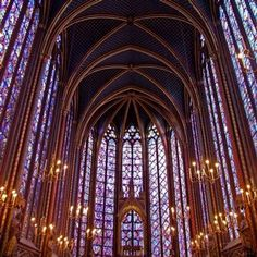 Vaulted Ceiling    Interior of the upper church of Sainte-Chapelle, Paris, France. Photograph © Steven Ballegeer    http://www.vam.ac.uk/content/articles/g/gothic-architecture/#