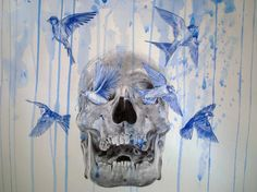 Drawing made with blue and black ballpoint pens and blue acrylic paint by Paul Alexander Thornton www.facebook.com/...