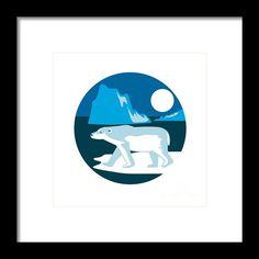 Polar Bear Iceberg Circle Retro Framed Print By Aloysius Patrimonio