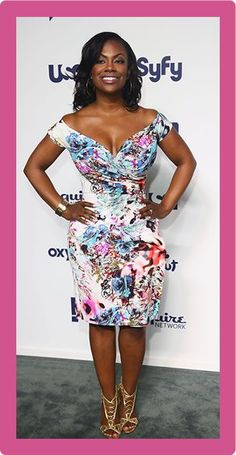 Kandi Burruss Off-the-Shoulder Dress - Kandi Burruss went for an ultra-girly vibe with this floral off-the-shoulder dress at the NBCUniversal Cable Entertainment Upfronts. Kandi And Todd, Peplum Dress, Strapless Dress, Off The Shoulder, Shoulder Dress, Kandi Burruss, Adrienne Bailon, Taste The Rainbow, Classy Chic