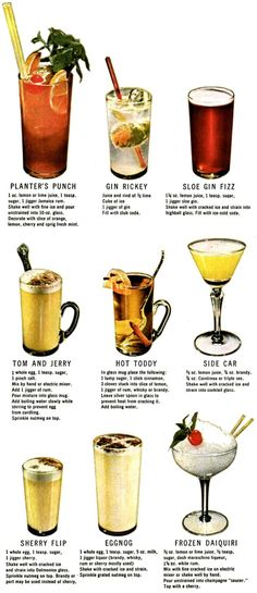 Classic cocktail recipes for Planter's Punch, Gin Rickey, Sole Gin Fizz, Tom and Jerry, Hot Toddy, Side Car, Sherry Flip, Eggnog, and Frozen Daiquiri.