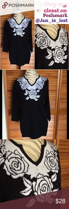 """🎄BOGO 50% OFF🎄 Black & White Rose Sweater L Rose sweater with gunmetal gems around the roses.  100% acrylic. Measures 22"""" across try bust and is 26"""" long has stretch. Sweaters V-Necks"""