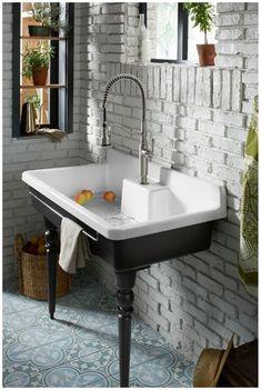 Ferguson Bathroom, Cast Iron Table Legs, Cast Iron Kitchen Sinks, Bathroom Sink Drain, Bathroom Showrooms, Best Kitchen Designs, Custom Cabinetry, Coastal Decor, Kitchen Redo