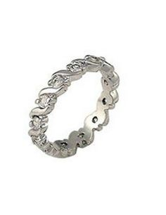 Silver Eternity Ring Band Waves Clear Cubic Zirconia Plus Size 9 10 USA Seller #Band