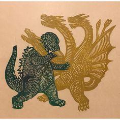Godzilla vs Ghidorah #linocut #printmaking #godzilla #ghidorah #kaiju #japanese #attacktheplanet by brianreedy