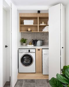 Who would've thought a laundry cupboard could be such a feast for the eyes? Fantastic Farmhouse Stylish and Functional Small Laundry Rooms ideas for home decorating interior decor ideas Laundry Cupboard, Laundry Nook, Laundry Dryer, Small Laundry Rooms, Laundry Closet, Laundry Room Organization, Laundry In Bathroom, Bathroom Pink, Bathroom Marble