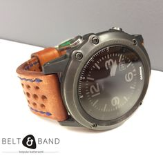 Make your Garmin Fenix 3 unique. This is our extra thick cow hide rally strap with blue edge stitching. Garmin Fenix 3, Nato Strap, Leather Working, Tan Leather, Watch Bands, Belt, Mens Fashion, Watches, Brown