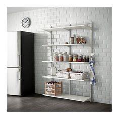 IKEA - ALGOT, Wandschiene/Boden/Dreierhaken, Die Teile der ALGOT Serie lassen sich vielseitig kombinieren und können so dem Bedarf und dem vorhandenen Platz angepasst werden.Konsolen, Böden und andere Zubehörteile werden einfach eingehängt. So lassen sich Kombinationen leicht montieren, anpassen und verändern.Passt überall im Haus - sogar im Badezimmer und anderen Feuchträumen, selbst auf verglasten Balkonen.Auch für Badezimmer und andere Feuchträume im Haus geeignet.Konsolen werden einfach…