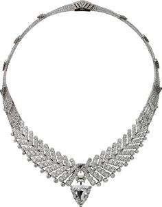 """CARTIER. """"Rythmic"""" Necklace / Brooch - platinum, one 10.08-carat E VS1 shield-shaped step-cut diamond, one 1.33-carat D VS1 modified hexagonal-shaped step-cut diamond, one 1.04-carat D VS2 modified shield-shaped step-cut diamond, faceted diamond beads, brilliant-cut diamonds. The center element is removable and can be worn as a brooch."""