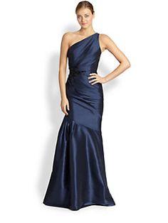 ML Monique Lhuillier - Faille One-Shoulder Mermaid Gown