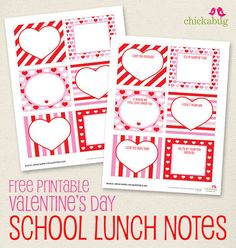 Love Notes: Valentine's Day Lunch Notes: Send your love via a sweet Valentine's Day-themed note in your tot's lunch. Chickabug's free printable notes.  Source: chickabug