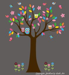 Tree Wall Decal with Owls, Birds, Flowers -  Nursery Wall Decals - Baby Wall Decals -  221. $99.00, via Etsy.