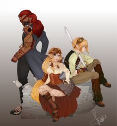 Steam Punk Legend of Zelda - Link Ganondorf and Zelda - Oh man... Ganon looks hot here... <3 <3 My two favorite things in one.